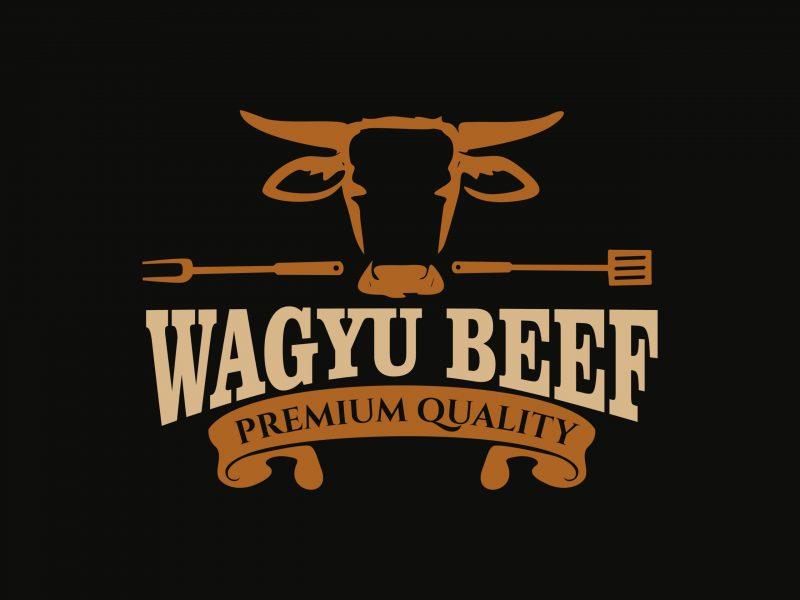 Wagyu Beef Japanese Logo Design Vector