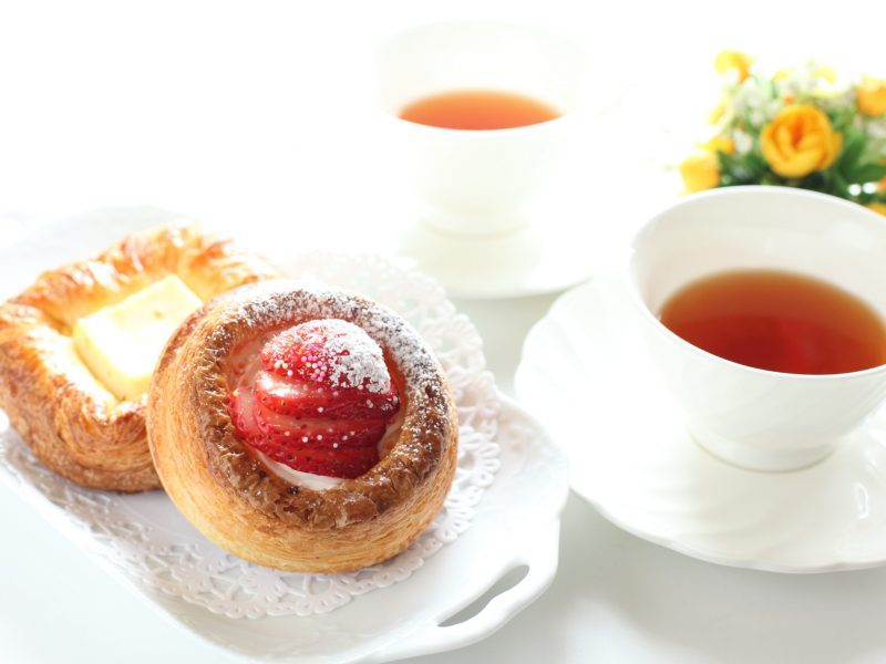 strawberry pastry and english tea for gourmet breakfast image